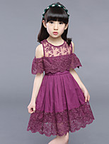 Girl's Fashion Jacquard Flower Dress,Cotton Polester/Cotton Blend Summer Short Sleeve