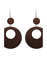 Fashion Women Hollow Out Double Circle Wood  Drop Earrings