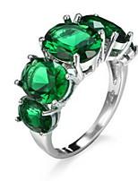 Ring Women's Euramerican Luxury 2 Colors Oval Geometric Rhinestone Zircon Ring Daily Party Gift Movie Jewelry