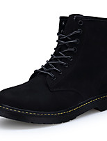 Men's Boots Comfort Combat Boots Cowhide Fall Winter Casual Party & Evening Comfort Combat Boots Lace-up Flat Heel Black Flat