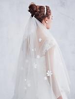 Свадебные вуали Один слой Фата до локтя Обрезанная кромка Тюль