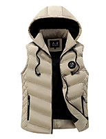 Men's Regular Padded Coat,Simple Casual/Daily Solid Striped-Cotton Cotton Sleeveless