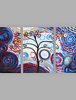 Ручная роспись Цветочные мотивы/ботанический Вертикальная,Мода 3 панели Холст Hang-роспись маслом For Украшение дома