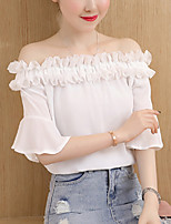 Women's Going out Casual/Daily Sexy Simple Summer Fall Blouse,Solid Boat Neck Short Sleeve Polyester Medium