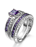 Ring Women's 2 Pcs Euramerican Luxury Personalized Creative Detachable Purple Zircon Geometric Ring Daily Party  Movie Business Gift Jewelry