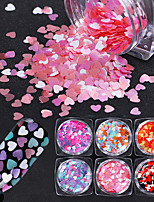 6 Box Mixed Color Heart Shape Nail Sequins Flakes Pink Purple Glitter Paillette Manicure Nail Art Decoration