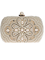 Women Evening Bag Polyester All Seasons Wedding Event/Party Formal Baguette Rhinestone Pearl Detailing Clasp Lock Beige Black Champagne