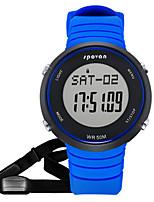 Муж. Смарт-часы Модные часы Цифровой Защита от влаги Педометр Pезина Группа Черный Синий Красный