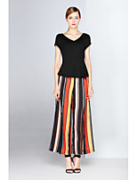 ZIYI Women's Holiday Going out Casual/Daily Work Simple Summer T-shirt Pant SuitsSolid Striped V Neck Short Sleeve Split Micro-elastic