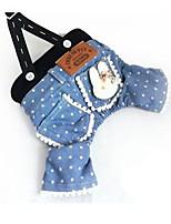 Cachorro Vestidos Roupas para Cães Festa Casual Desenhos Animados Azul