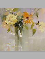 IARTS® Hand Painted Modern Abstract Yellow & Orange Bouquet on Canvas Stretched Frame Handmade Oil Painting For Home Decoration Ready To Hang