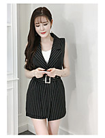 Women's Daily Soak Off Summer Blazer Pant Suits,Striped Round Neck Short Sleeve
