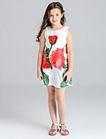 Robe Fille de Fleur Imprimé Coton Printemps Eté Sans Manches