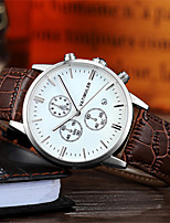 Men's Dress Watch Fashion Watch Quartz Calendar Water Resistant / Water Proof Noctilucent Leather Band Brown