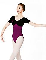 Ballet Leotards Women's Training Spandex Corduroy 1 Piece Short Sleeve High Leotard