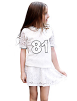 Girls' Hollow Lace Sets,Cotton 100%Cotton Autumn/Fall Summer Short Sleeve Clothing Set