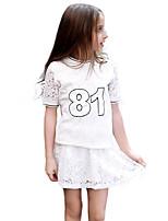 Girls' Hollow Lace Sets,Cotton 100%Cotton Autumn/Fall Summer Short Sleeve Clothing Set