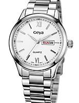 Men's Dress Watch Fashion Watch Quartz Calendar Water Resistant / Water Proof Noctilucent Rubber Band Silver