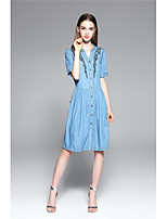 TYZEE Women's Going out Casual/Daily Simple Cute Denim DressSolid Embroidered V Neck Knee-length Half Sleeve Polyester Spring Summer Mid Rise