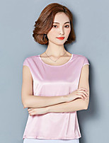 Tee-shirt Femme,Couleur Pleine Sortie Décontracté / Quotidien Sexy Sophistiqué Eté Demi Manches Col en V Soie Fin