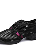 Non Customizable Women's Dance Shoes Tulle Tulle Dance Sneakers / Modern Sneakers Low Heel Outdoor Black/White