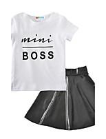 Mini Boss Letter Kids Girls' Fashion Patterns Print SetsCotton PU / Leather Spring/Fall Summer Short Sleeve Clothing Set