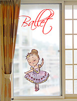 Window Film Window Decals Style Ballet Girl Grind Arenaceous PVC Window Film- (60 x 116)cm