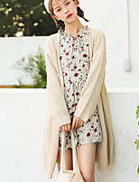 Women's Casual/Daily Vintage Cute Long Cardigan,Solid Asymmetrical Long Sleeve Acrylic Fall Medium Micro-elastic