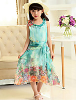 Girl's Fashion Floral Print Dress,Cotton Summer Sleeveless