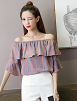 Women's Casual/Daily Simple Blouse,Striped Boat Neck Short Sleeve Polyester