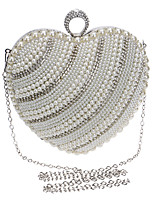 Women Evening Bag Polyester All Seasons Wedding Event/Party Formal Heart Shaped Rhinestone Pearl Detailing Clasp Lock Silver Gold