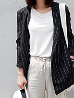 Women's Casual/Daily Simple Spring Blazer,Striped Notch Lapel Long Sleeve Regular Polyester