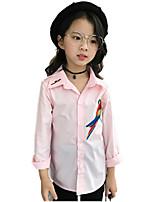 Girls' Print Embroidered Shirt,Cotton Fall All Seasons Long Sleeve Regular