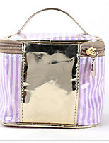 Women Cosmetic Bag Polyester Cotton All Seasons Casual Outdoor Round Zipper Purple Black