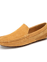 Men's Loafers & Slip-Ons Comfort Leather Spring Fall Casual Office & Career Party & Evening Flat Heel Khaki Blue Brown Flat