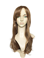 Capless Long Brown Synthetic Fiber Wig Water Wave Wig