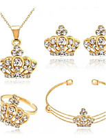 Jewelry Set Rhinestone Euramerican Fashion Alloy Crown Gold Necklace Earrings For Party Daily 1 Set Wedding Gifts