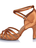 2017 Classic Brand Modern Latin Sandals Customizable Women's Dance Shoes  Heeled shoes Satin Brown