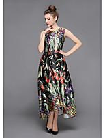 Для женщин Праздники На выход На каждый день Уличный стиль Изысканный Оболочка С летящей юбкой Платье Цветочный принт С принтом,Круглый