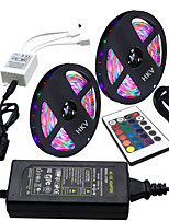 HKV® 1 Pcs 10M(2*5M) Waterproof 3528 RGB 300LED RGB Strip Flexible Light 24Key IR Remote Controller 5A Power Supply AC 110-240V
