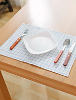 Japanese Plain Lattice Printing Cotton And Linen Table Placemat 32*45cm