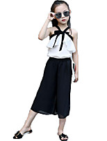 Girls' Fashion Solid Color Bowknot Sets,Cotton Chiffon Summer Sleeveless Clothing Set