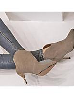 Для женщин Ботинки Удобная обувь Туфли лодочки Натуральная кожа Полиуретан Весна Зима Повседневные Черный Серый Коричневый 4,5 - 7 см