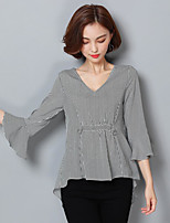 Women's Casual/Daily Sexy Blouse,Striped V Neck 3/4 Length Sleeve Cotton