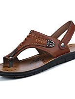 Men's Sandals Comfort Light Soles PU Spring Fall Casual Comfort Light Soles Rivet Flat Heel Khaki Brown Yellow Under 1in