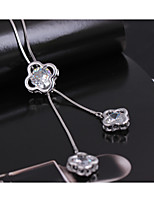 Women's Pendant Necklaces Cubic Zirconia Flower Zircon Rhinestones Alloy Dangling Style Jewelry ForWedding Party Special Occasion