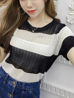 Women's Going out Casual/Daily Sexy Summer Fall T-shirt,Striped Round Neck Short Sleeve Polyester Medium