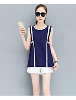 Women's Daily Casual Casual Summer Tank Top Pant Suits,Solid Striped Round Neck Sleeveless Inelastic
