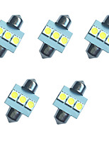 5PCS Car Festoon Dome Lamp 31MM 1W 3SMD 5050 Chip 80-100LM White 6500-7000K DC12V Reading Light License Plate Lights