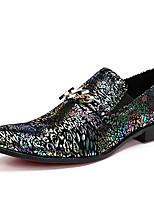 Unisex Oxfords Formal Shoes Nappa Leather Fall Winter Casual Office & Career Party & Evening Dress Formal Shoes Chunky Heel Gold1in-1